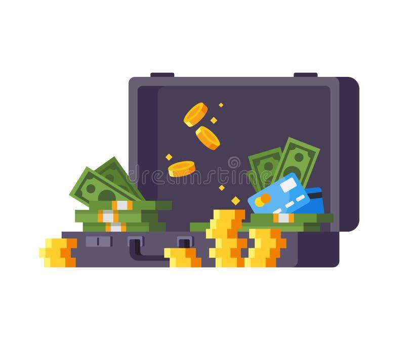 Bem estar financeiro, crescimento de dinheiro, lucro, sucesso Casino, fortuna no jogo ilustração royalty free