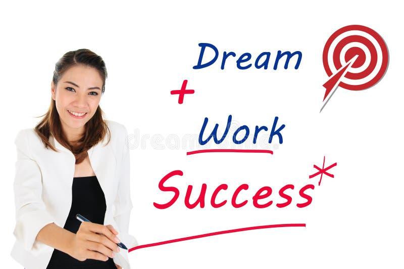 Bem sucedido do conceito do negócio pelo sonho e pelo trabalho imagem de stock