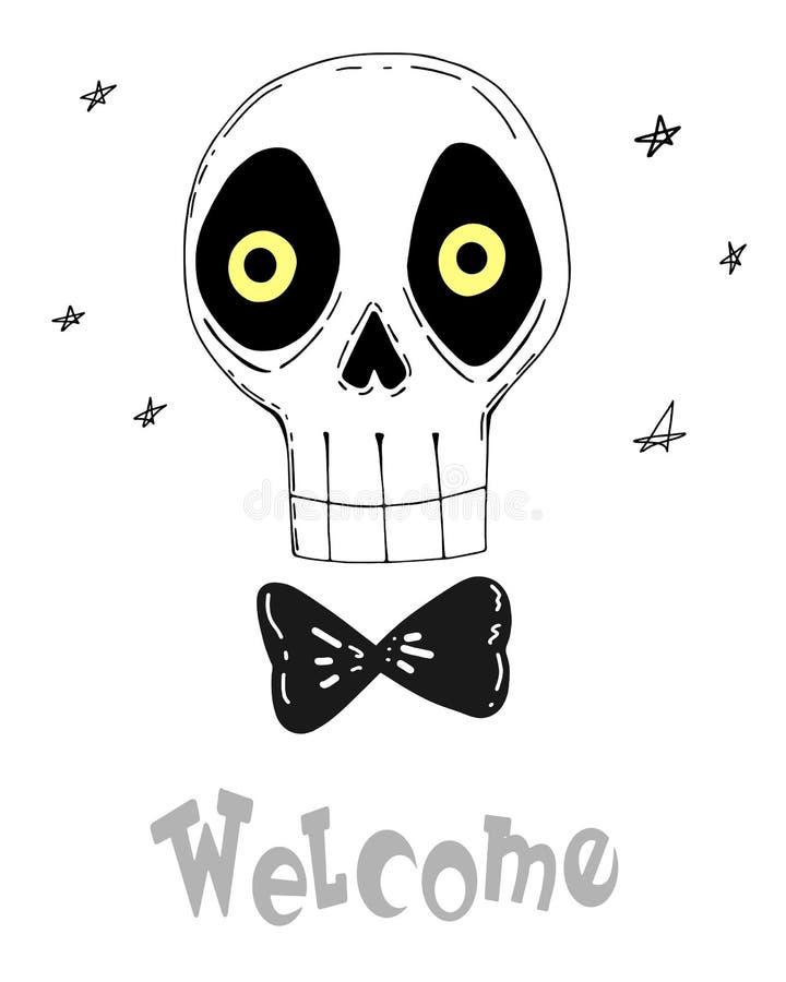 Bem-vindo crânio bonito dos desenhos animados com inscrição Ilustra??o do vetor ilustração royalty free