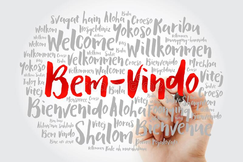 Bem Vindo Welcome In Portuguese Word Cloud With Marker In Different Languages Conceptual Background Stock Image Image Of Global Ahlan 197874329