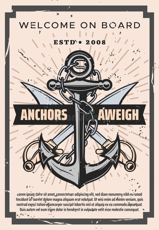 Bem-vindos a bordo, sabres piratas e âncora marinha ilustração do vetor
