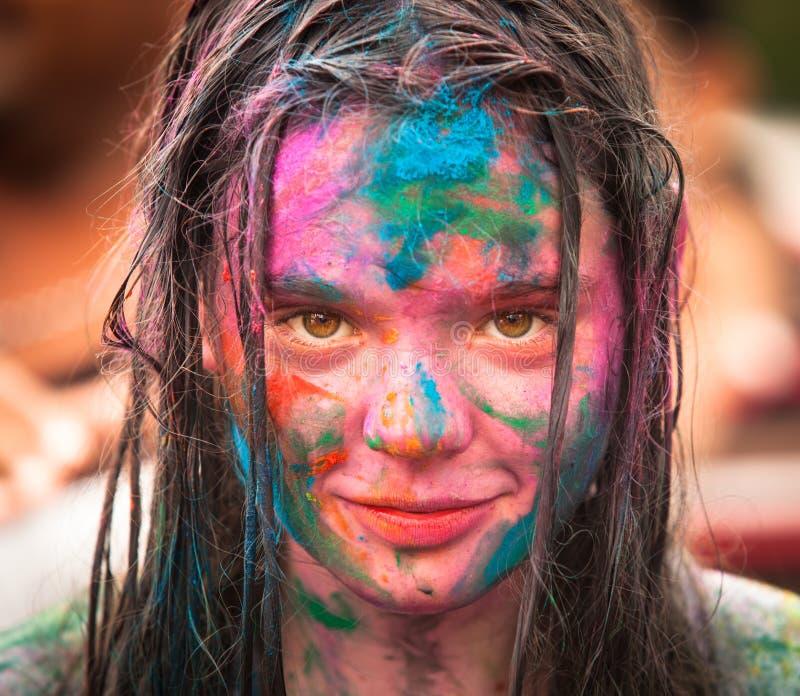 Den Holi festivalen av färgar i Kuala Lumpur royaltyfri foto