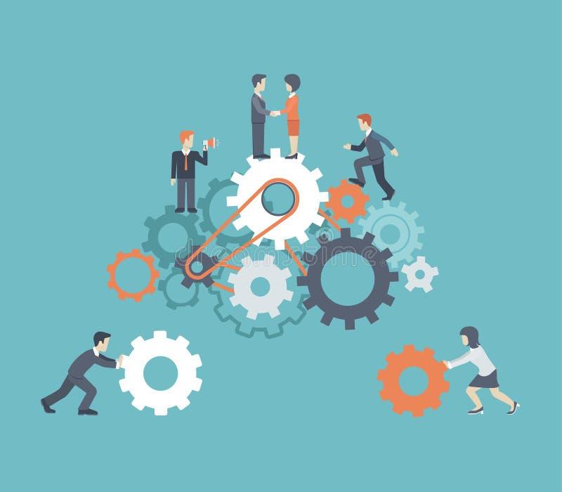 Bemannar modern teamwork för plan stil, arbetskraft, infographic begrepp vektor illustrationer