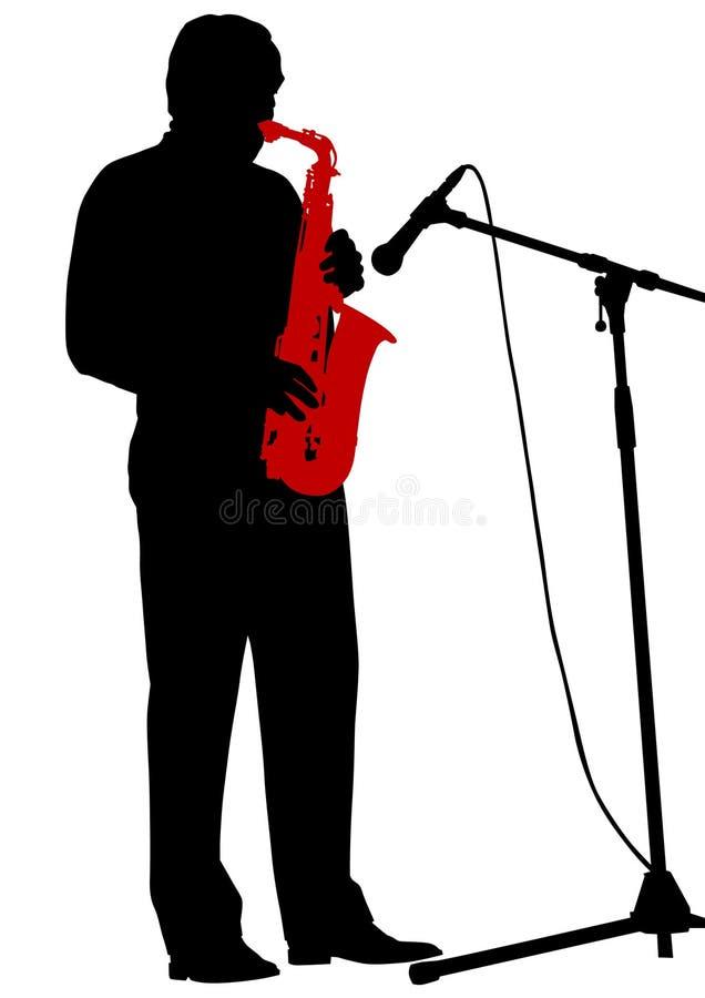 bemannar saxofonen royaltyfri illustrationer