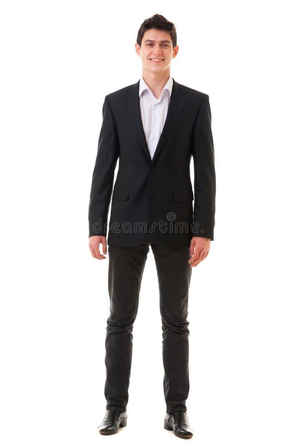 Bemannen lächelnde hübsche Geschäftsperson der Junge lokalisiert auf weißem BAC lizenzfreies stockfoto