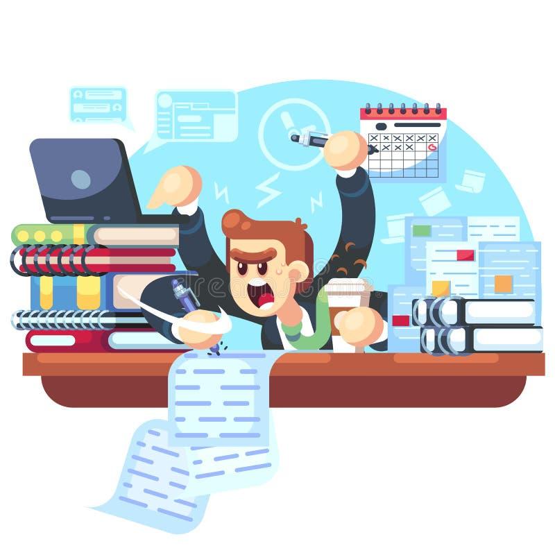 Bemannen Sie Überlastung im Büro, Fristenvektorillustration Manager, der am Schreibtisch mit Stapel Dokumenten in der Verwirrung  vektor abbildung