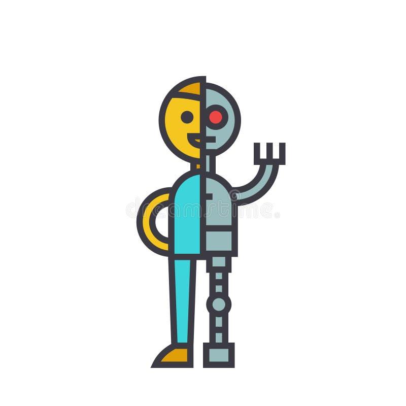 Bemannen Sie Android, flaches Zeilendarstellung, lokalisierte Ikone des Roboters des Konzeptes Vektor lizenzfreie abbildung