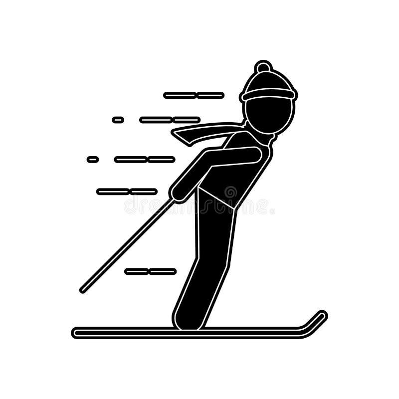 bemannen Sie auf Skiikone Element des Winters f?r bewegliches Konzept und Netz Appsikone Glyph, flache Ikone f?r Websiteentwurf u stock abbildung