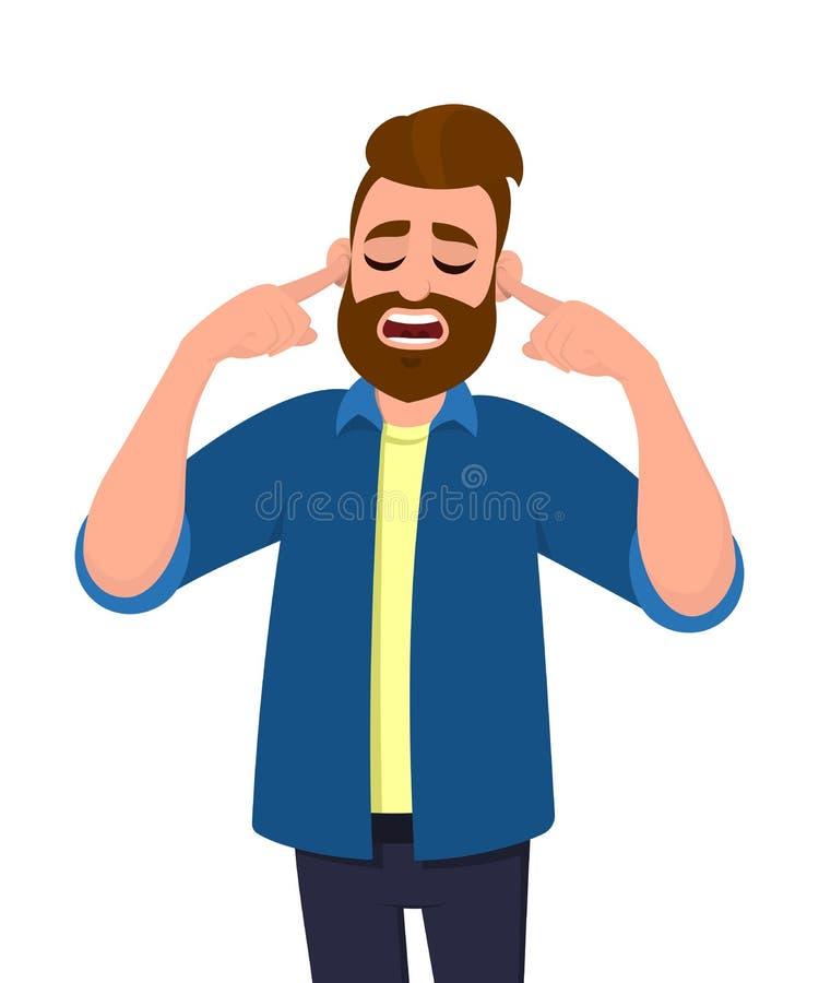 Bemannen Sie Bedeckungsohren mit den Fingern mit gestörtem Ausdruck für die Geräusche des lauten Tones oder der Musik, während Au lizenzfreie abbildung