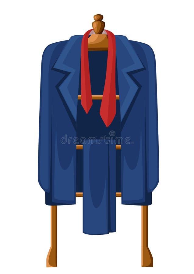 Bemannen Sie blauen Anzug mit roter Bindung auf der hölzernen Aufhängervektorillustration, die auf weißem Hintergrund lokalisiert vektor abbildung