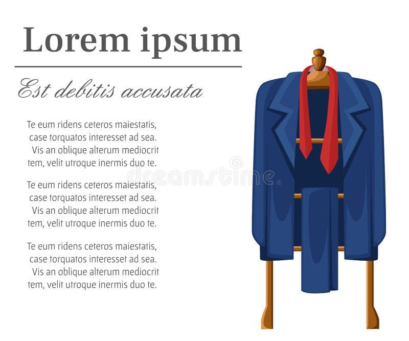 Bemannen Sie blauen Anzug mit roter Bindung auf hölzerner Aufhängervektorillustration mit Platz für Ihren Text, der auf weißem Hi vektor abbildung