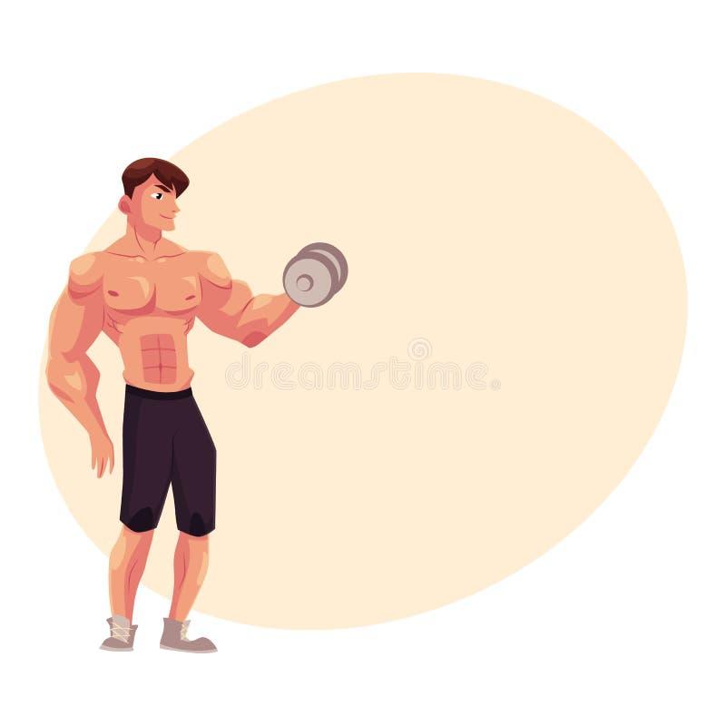 Bemannen Sie Bodybuilder, den Weightlifter, der das Bizepstraining tut und ausbilden bewaffnet mit Dummkopf vektor abbildung