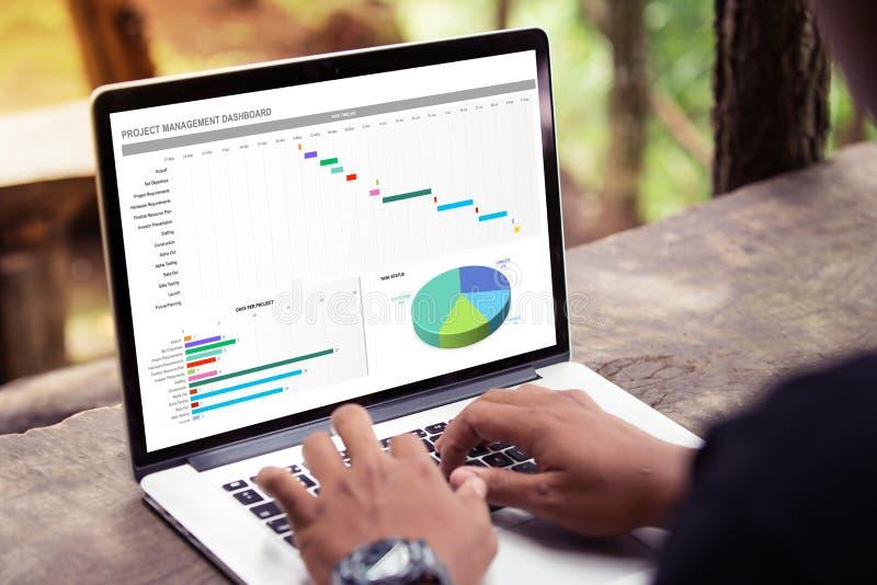 Bemannen Sie das Arbeiten mit Managementprojektarmaturenbrett auf Laptop/Computer stockbilder
