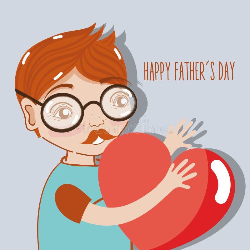 Bemannen Sie das Feiern des Vatertags mit Herzen in den Händen vektor abbildung