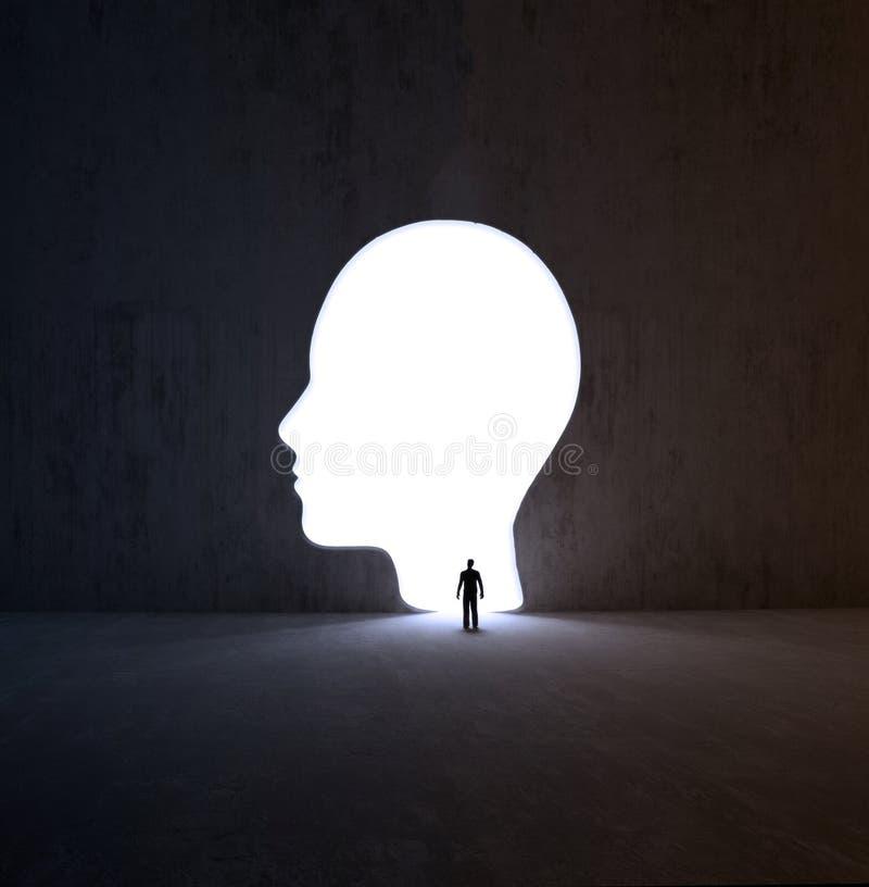 Bemannen Sie das Gehen in eine kopfförmige Öffnung in einer Wand lizenzfreie abbildung