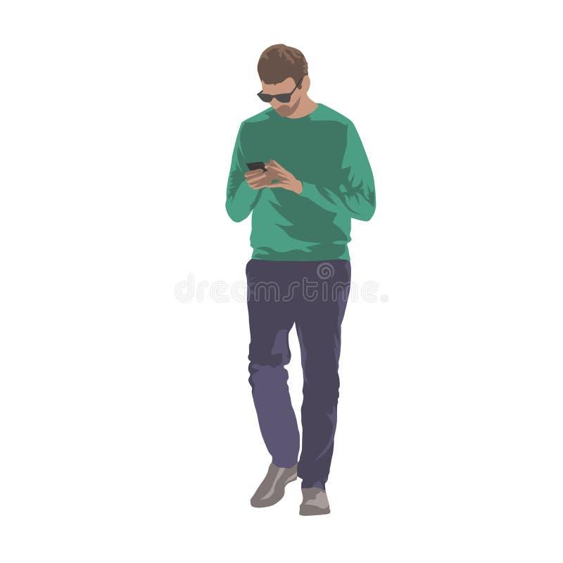Bemannen Sie das Gehen mit Handy in den Händen und das Simsen Lokalisiertes vecto lizenzfreie abbildung