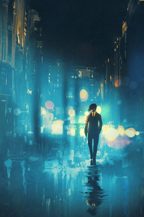 Bemannen Sie das Gehen nachts auf der nassen Straße vektor abbildung