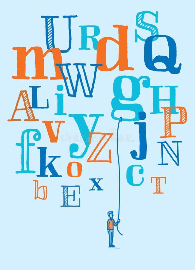 Bemannen Sie das Halten eines sich hin- und herbewegenden Buchstaben vom Fliegenalphabet lizenzfreie abbildung