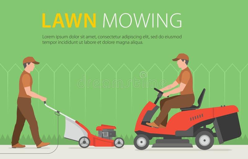 Bemannen Sie das Mähen des Rasens mit rotem Rasenmäher lizenzfreie abbildung