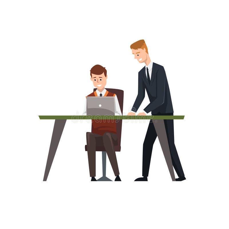 Bemannen Sie das Sitzen an der Schreibtischfunktion auf Laptop-Computer, sein Kollege, der nahe bei ihm, Geschäftsmänner bei der  stock abbildung