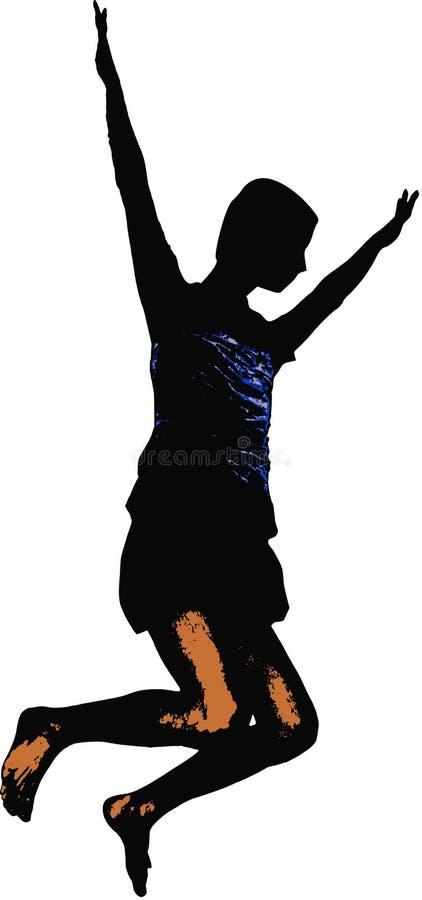 Bemannen Sie das Springen mit der Freude, die oben Arme und die Beine verbogen werden in farbiges Hemd des Vektors der Luft saube lizenzfreie abbildung