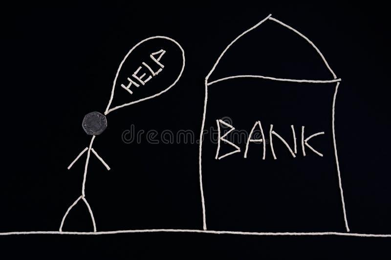 Bemannen Sie das Suchen nach der Finanzhilfe und gehen ein Bankkonto zu haben, das Geldkonzept, ungewöhnlich stock abbildung