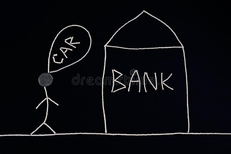 Bemannen Sie das Suchen nach Finanzhilfe von einer Bank, um einen Neuwagen, das Geldkonzept zu kaufen, ungewöhnlich stock abbildung