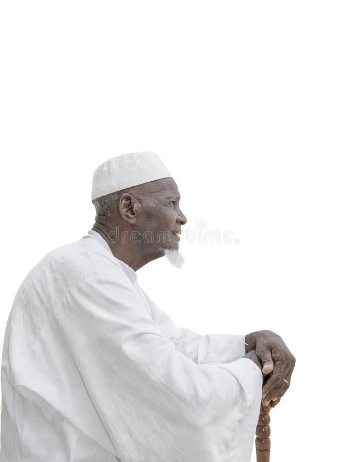 Bemannen Sie das Tragen eines weißen Kleides, achtzig Jahre alt stockfotos