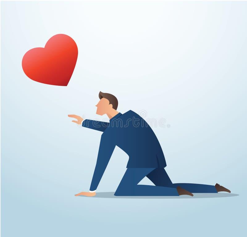 Bemannen Sie das Versuchen, die rote Herzikone, Mannversuch zu fangen, um Liebe zu finden lizenzfreie abbildung