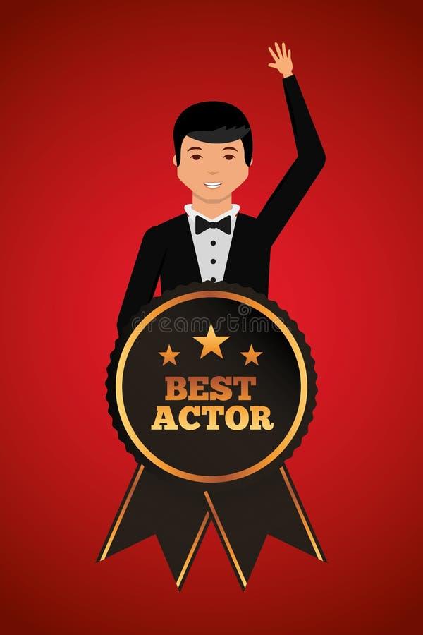 Bemannen Sie das Wellenartig bewegen in stilvolle Kleidung mit bestem Schauspieler des Preises lizenzfreie abbildung