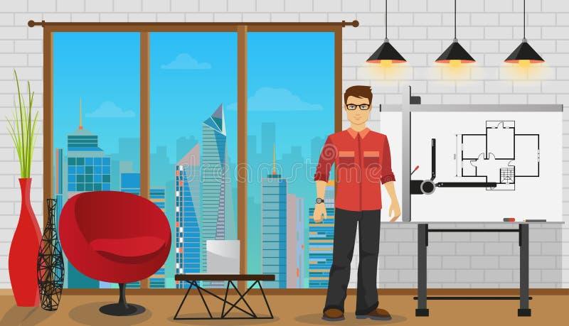 Bemannen Sie den Architekten, der mit Plan am Büro oder am Studio arbeitet lizenzfreie abbildung