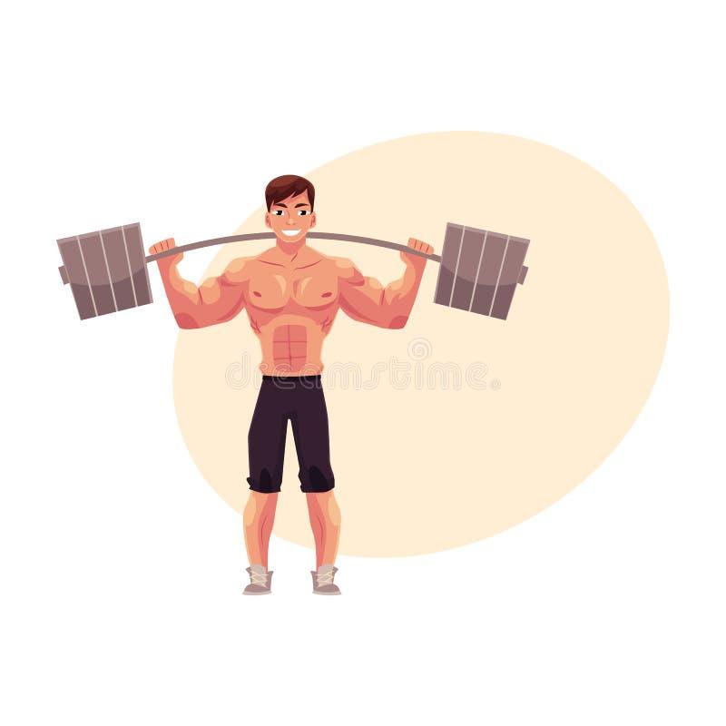 Bemannen Sie den Bodybuilder, den Weightlifter, der ausarbeitet und mit Barbell ausbilden stock abbildung