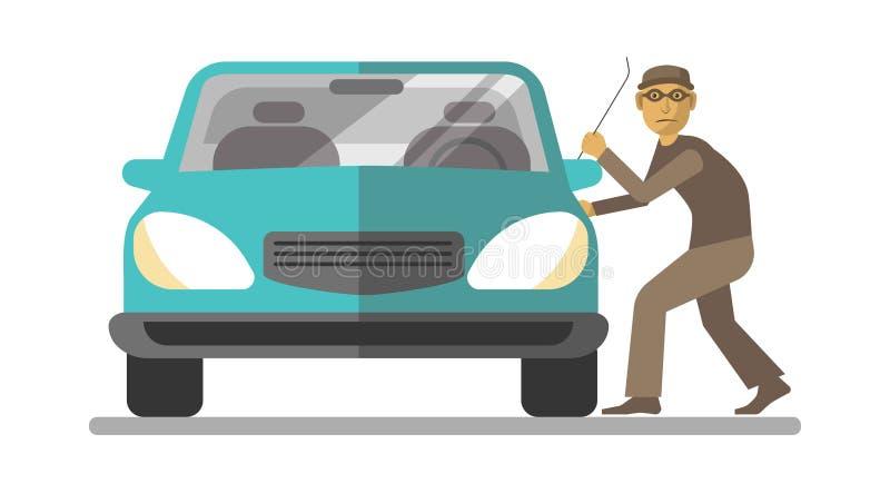 Bemannen Sie den Dieb, der die Autotür bricht, die auf Weiß lokalisiert wird lizenzfreie abbildung