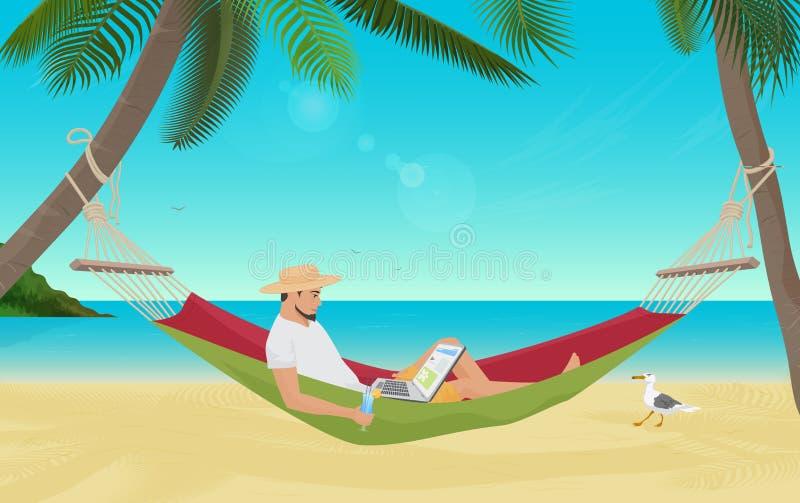 Bemannen Sie den Geschäftsmann, der in der Hängematte auf dem Seestrand sitzt und mit seiner Laptop-Computer arbeitet Bester Plat vektor abbildung