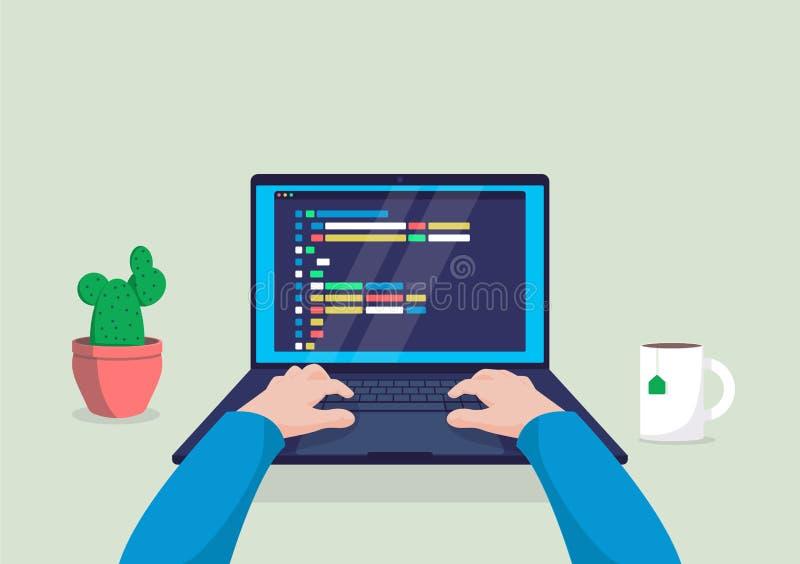 Bemannen Sie den Programmierer, der an Computer mit Code auf Schirmillustration arbeitet vektor abbildung