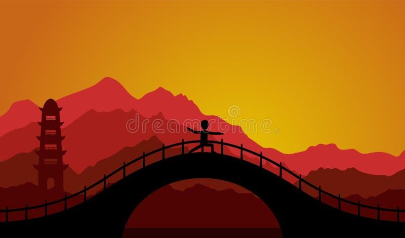 Bemannen Sie die Ausführung von Qigong oder von taijiquan Übungen am Abend vektor abbildung
