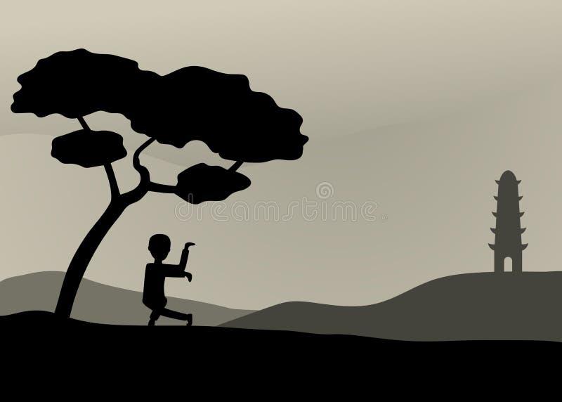 Bemannen Sie die Ausführung von Qigong oder von taijiquan Übungen am Abend stock abbildung