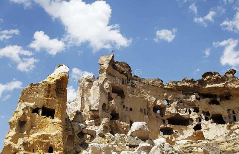 Bemannen Sie die gebildeten ehemaligen Höhlen bemannt Lebensraum römische Zeiten stockbild