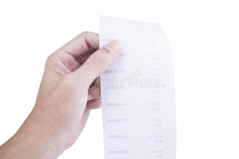 Bemannen Sie die Hand, die eine Rechnung und einen langen Eingang des Supermarktes/des Malls überprüft lizenzfreie stockbilder