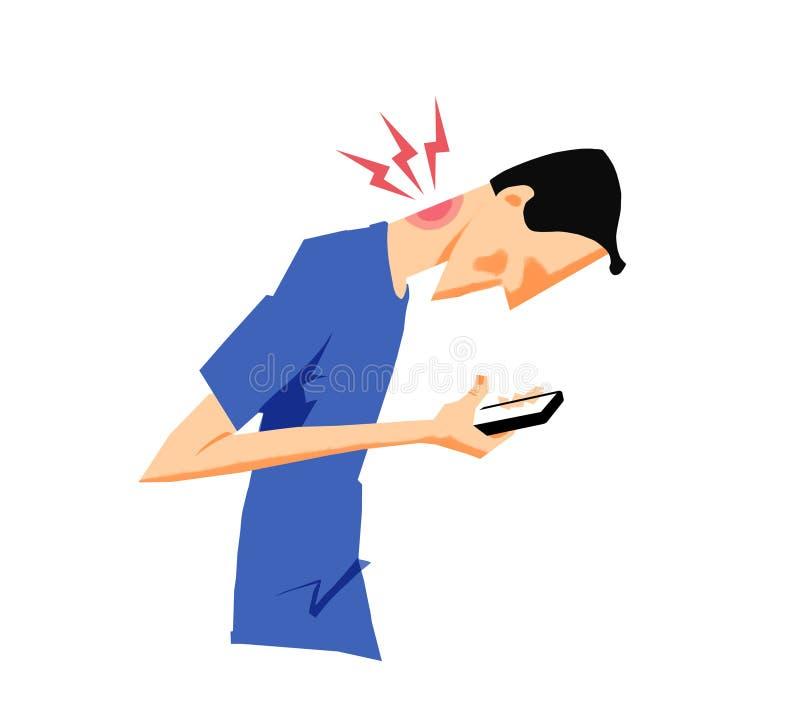 Bemannen Sie die Verletzung seines Halses, der über sein intelligentes Telefon verbiegt stockbild