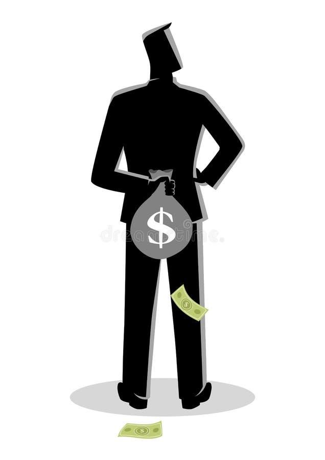 Bemannen Sie eine Geldtasche hinter seinem zurück verstecken lizenzfreie abbildung