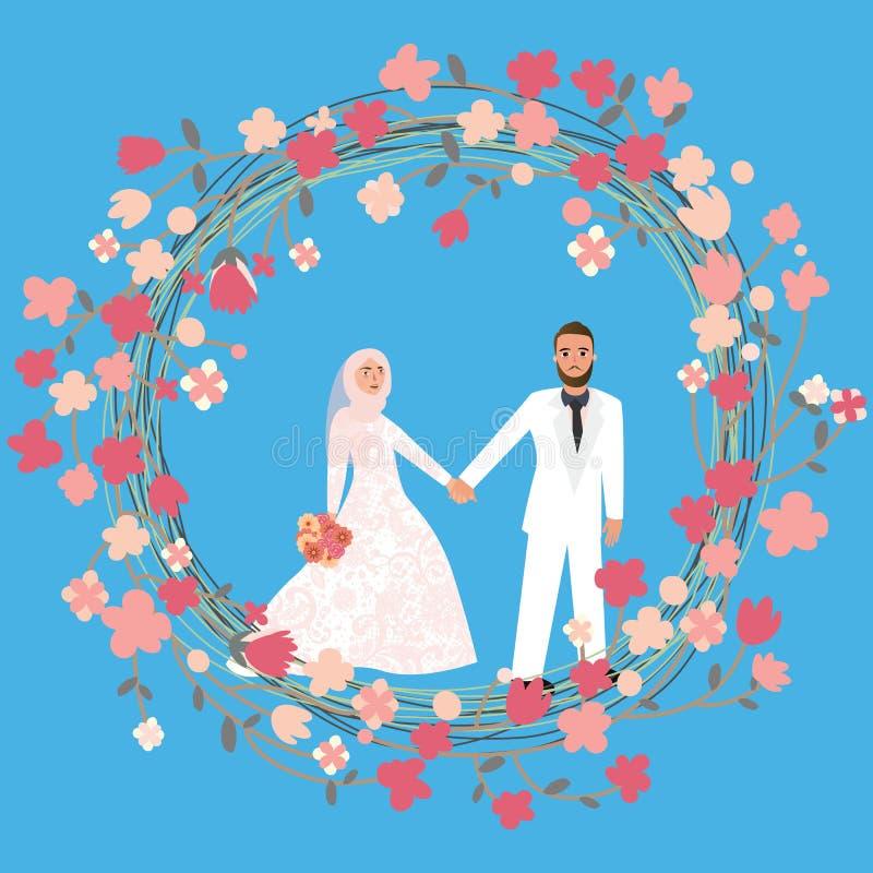 Bemannen Sie Frauenpaar-Verhältnis-Heirat in tragendem Schleier hijab Kopftuch des Islams stock abbildung