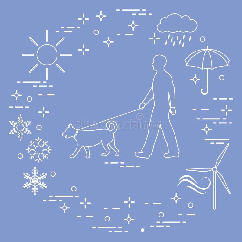 Bemannen Sie gehen ein Hund auf einer Leine in jedem möglichem Wetter stock abbildung