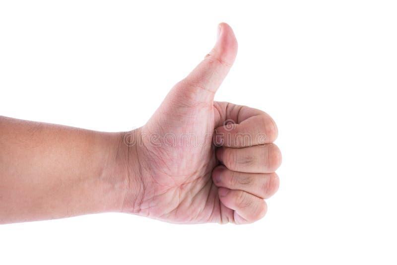 Bemannen Sie Hand mit dem Daumen, der oben auf wei?em Hintergrund lokalisiert wird Wie und gut, Thema gestikulierend lizenzfreie stockfotos
