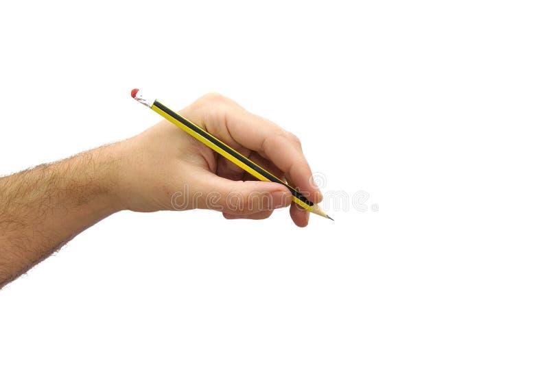 Bemannen Sie Handschrift mit einem Bleistift, der auf Weiß lokalisiert wird lizenzfreie stockfotos
