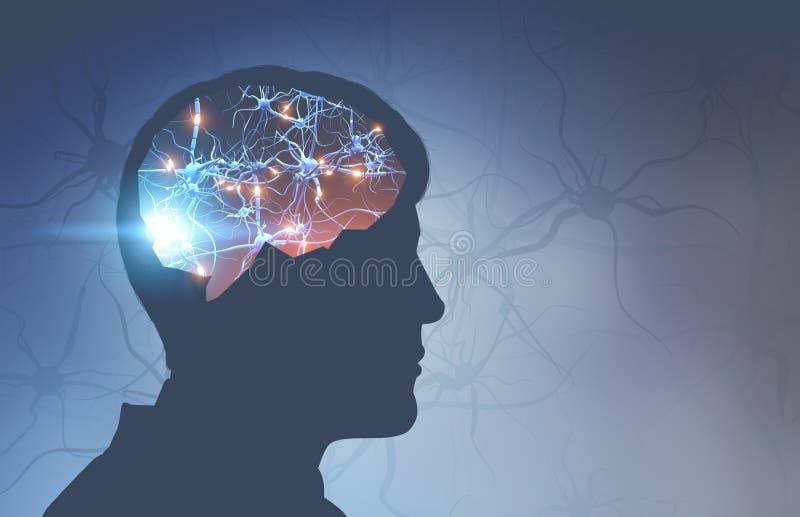 Bemannen Sie Hauptschattenbild mit glühenden Synapsen im Gehirn lizenzfreie abbildung