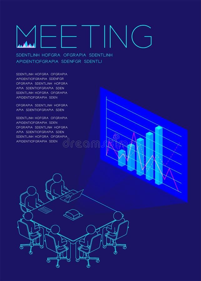 Bemannen Sie Ikonenpiktogramm-Darstellungsdiagramm im Sitzungssaal, betriebswirtschaftliche Probleme: Sitzungskonzept-Zeitschrift lizenzfreie abbildung