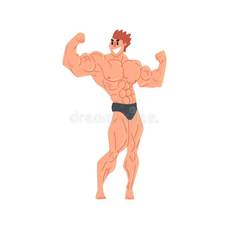 Bemannen Sie im Schwarz-Memorandum-Bodybuilder-lustigen lächelnden Charakter auf den Steroiden, die Muskeln in der hinteren doppe vektor abbildung
