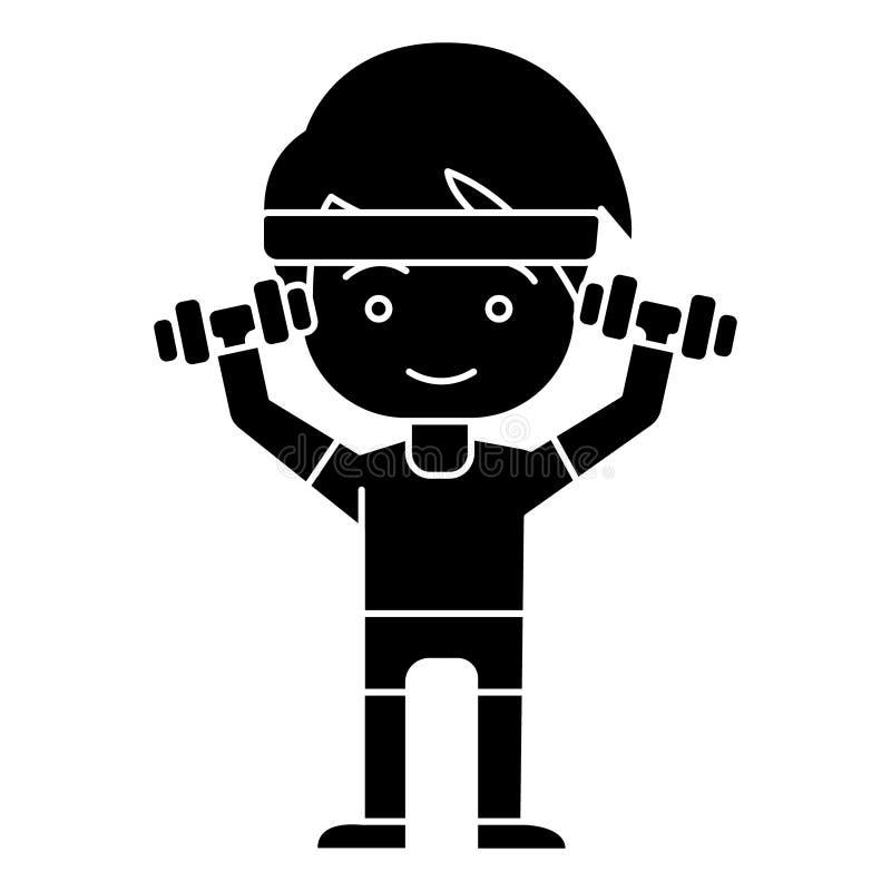 Bemannen Sie Jungentraining mit den Gewichtshänden herauf Ikone, Vektorillustration, schwarzes Zeichen auf lokalisiertem Hintergr vektor abbildung