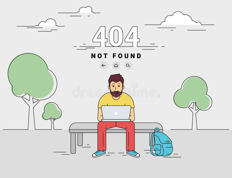 Bemannen Sie mit gefundenem Fehler der Seite des Laptops 404 nicht stock abbildung